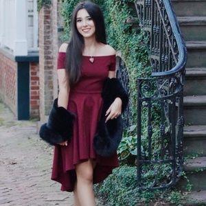 Burgundy Wine Red Off Shoulder Skater Dress